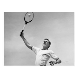 Man playing tennis postcard