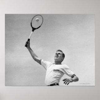 Man playing tennis posters