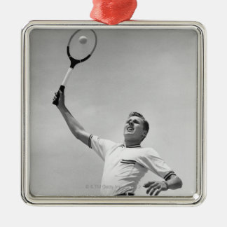 Man playing tennis Silver-Colored square decoration