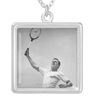 Man playing tennis silver plated necklace