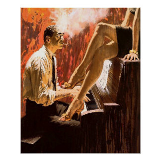 Man Playing the Piano and a Pinup Girl s Legs Print