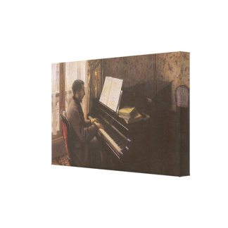 Man Playing The Piano by Caillebotte, Vintage Art Gallery Wrap Canvas