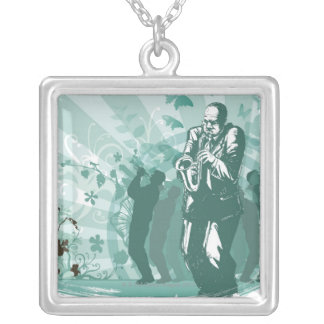 Man Playing The Trumpet Silver Plated Necklace