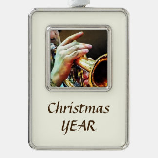 Man Playing Trumpet Silver Plated Framed Ornament