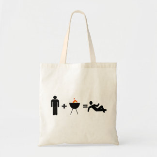 man plus bbq equals chilled budget tote bag
