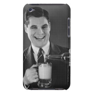 Man pouring beer from bottle to pitcher (B&W), Barely There iPod Case