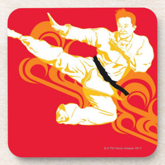 Man practicing martial arts, performing mid air beverage coaster