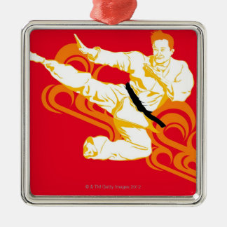 Man practicing martial arts, performing mid air Silver-Colored square decoration