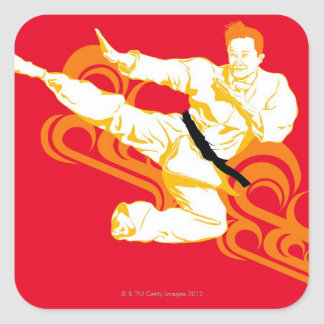 Man practicing martial arts, performing mid air square sticker