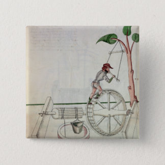 Man Putting into Motion a Wheel-Driven Well 15 Cm Square Badge