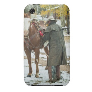 Man putting saddle on horse Case-Mate iPhone 3 cases