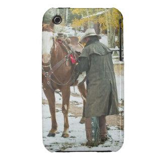 Man putting saddle on horse iPhone 3 case