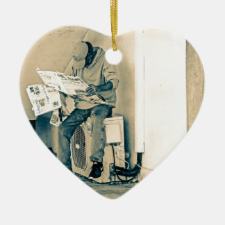 Man Reading Paper Ceramic Heart Decoration