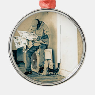 Man Reading Paper Christmas Ornament