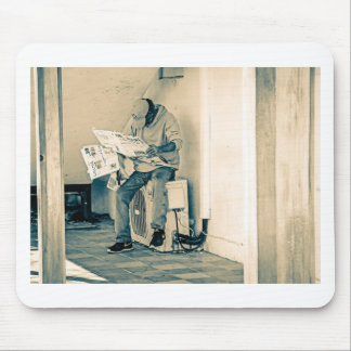 Man Reading Paper Mouse Mat
