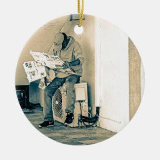 Man Reading Paper Round Ceramic Decoration