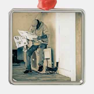 Man Reading Paper Silver-Colored Square Decoration