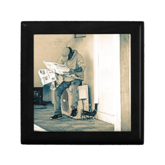 Man Reading Paper Small Square Gift Box