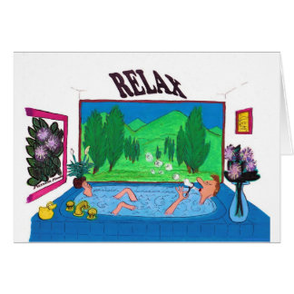 Man relaxing in a bathtub blowing bubbles greeting card