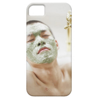 Man Relaxing in a Bathtub with a Facial Mask Barely There iPhone 5 Case