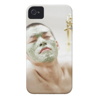 Man Relaxing in a Bathtub with a Facial Mask Case-Mate iPhone 4 Case