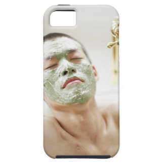 Man Relaxing in a Bathtub with a Facial Mask iPhone 5 Cases