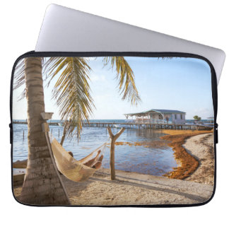 Man Relaxing In A Hammock Under Palm Tree, Belize Laptop Sleeve