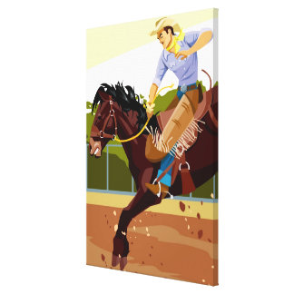 Man riding bucking bronco, side view canvas print