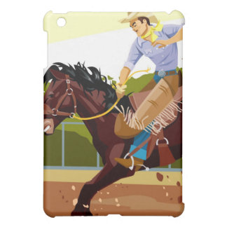 Man riding bucking bronco, side view iPad mini case