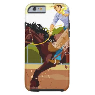 Man riding bucking bronco, side view tough iPhone 6 case