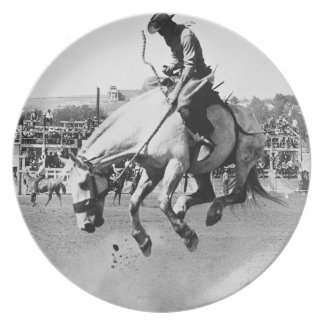 Man riding bucking horse in rodeo plate