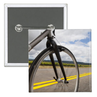 Man road biking at high speed POV 15 Cm Square Badge