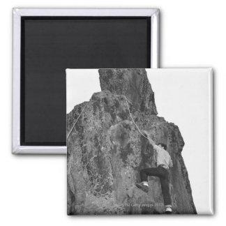 Man Rock Climbing Square Magnet