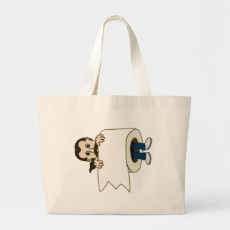 man rolled in toilet paper large tote bag