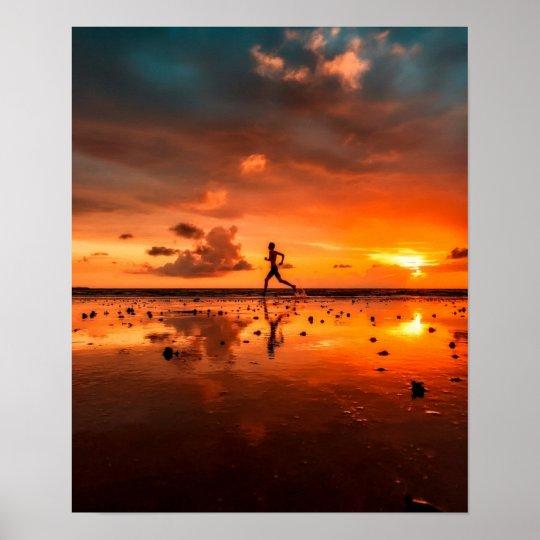 Man Running on Beach at Sunset Poster
