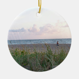 man running on beach painting style image ornaments