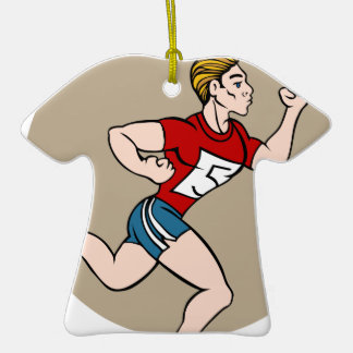 Man Running Race Cartoon Double-Sided T-Shirt Ceramic Christmas Ornament