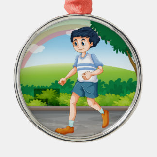 Man running Silver-Colored round decoration