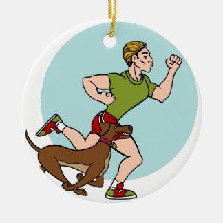 Man Running with Dog Round Ceramic Decoration