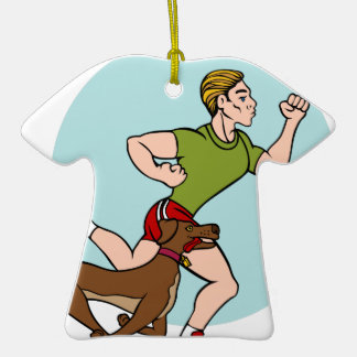 Man Running with Dog Double-Sided T-Shirt Ceramic Christmas Ornament
