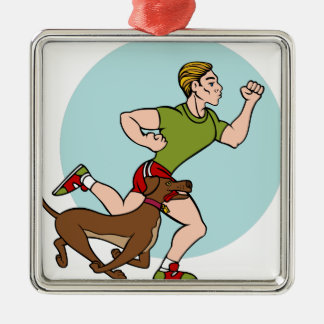Man Running with Dog Silver-Colored Square Decoration