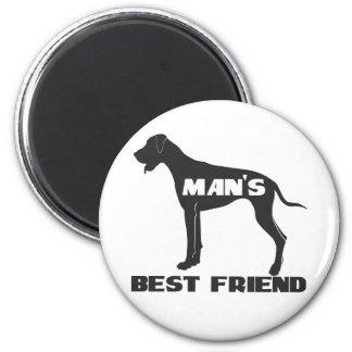 Man's Best Friend fun dog silhouette 6 Cm Round Magnet