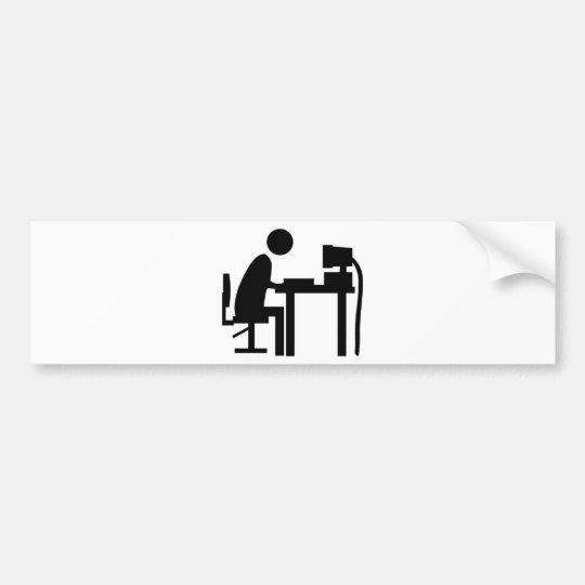 Man sat at a computer. bumper sticker