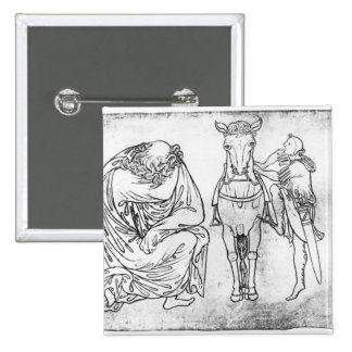 Man seated, Knight mounting his horse 15 Cm Square Badge