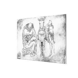 Man seated, Knight mounting his horse Canvas Print