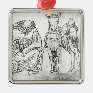 Man seated, Knight mounting his horse Christmas Ornament