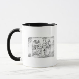 Man seated, Knight mounting his horse Mug