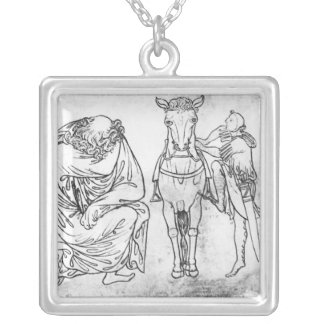 Man seated, Knight mounting his horse Silver Plated Necklace