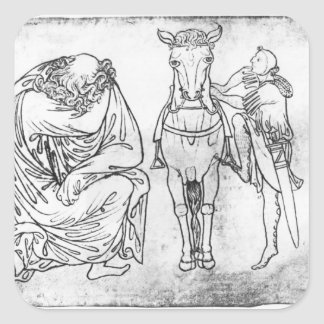 Man seated, Knight mounting his horse Square Sticker