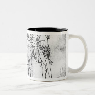 Man seated, Knight mounting his horse Two-Tone Coffee Mug